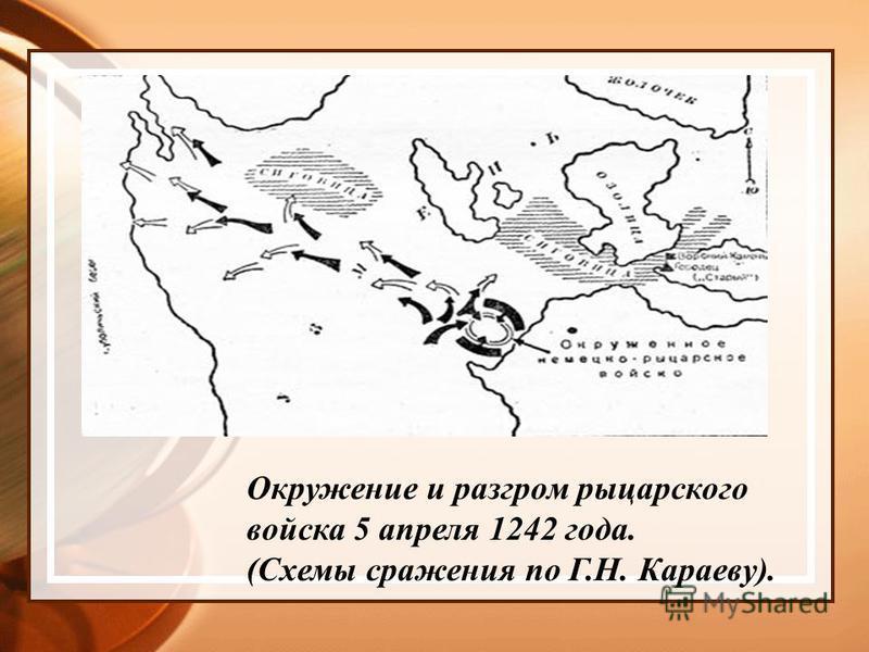 Окружение и разгром рыцарского войска 5 апреля 1242 года. (Схемы сражения по Г.Н. Караеву).