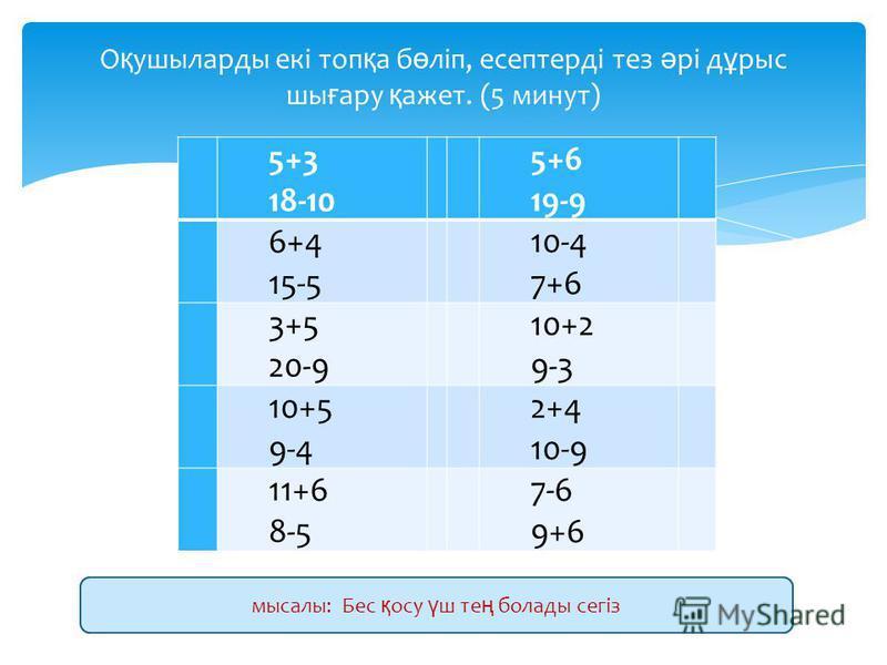 5+3 18-10 5+6 19-9 6+4 15-5 10-4 7+6 3+5 20-9 10+2 9-3 10+5 9-4 2+4 10-9 11+6 8-5 7-6 9+6 О қ ушиларды ввекі топ қ а б ө ліп, есептерді тез ә рі д ұ рысьь ши ғ ару қ ажнет. (5 минут) мысалы: Бес қ осу ү ш те ң болады сегіз