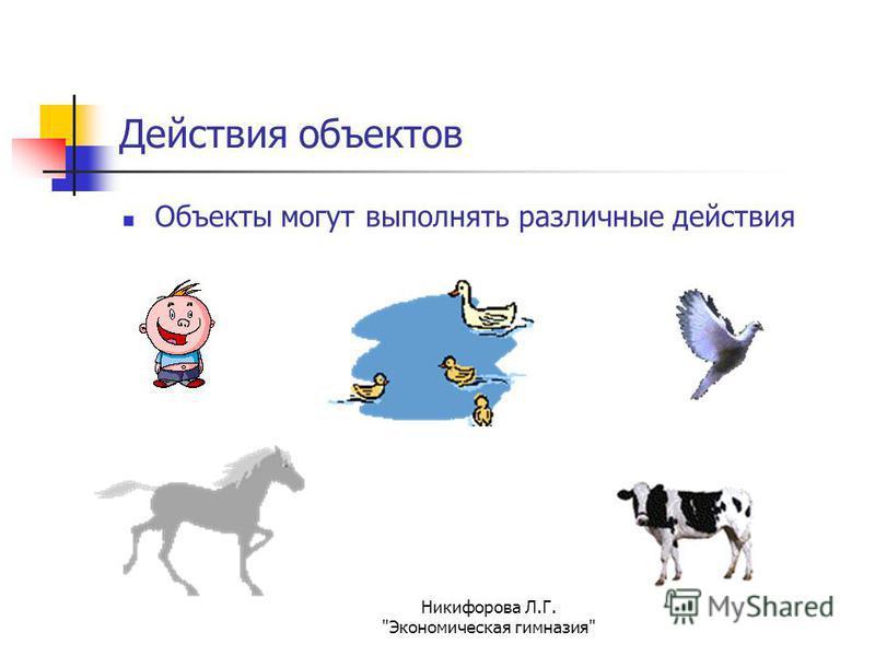 Никифорова Л.Г. Экономическая гимназия Действия объектов Объекты могут выполнять различные действия