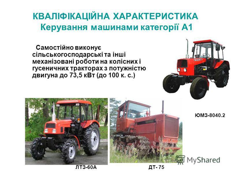 КВАЛІФІКАЦІЙНА ХАРАКТЕРИСТИКА Керування машинами категорії А1 Самостійно виконує сільськогосподарські та інші механізовані роботи на колісних і гусеничних тракторах з потужністю двигуна до 73,5 кВт (до 100 к. с.) ЛТЗ-60А ЮМЗ-8040.2 ДТ- 75