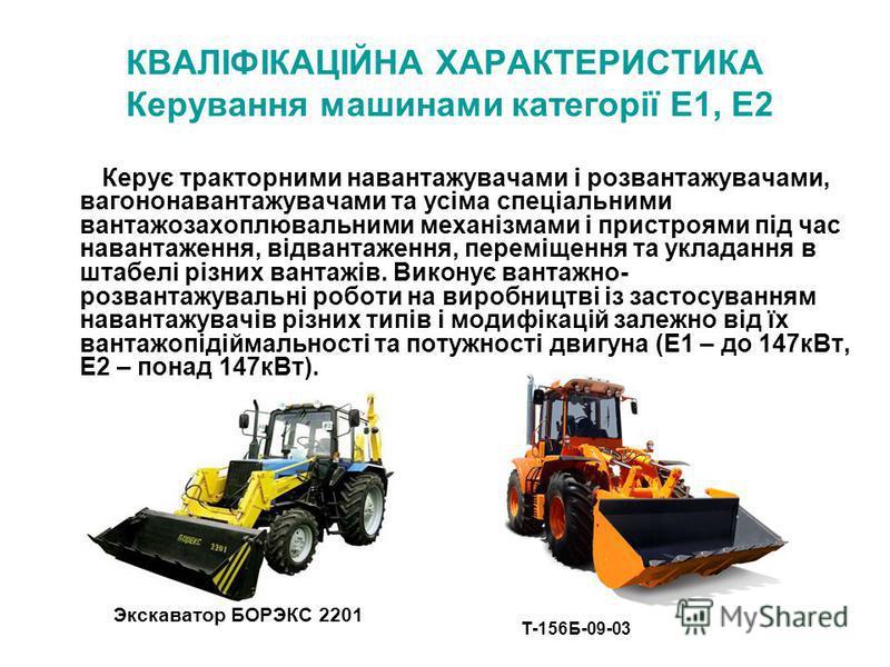 КВАЛІФІКАЦІЙНА ХАРАКТЕРИСТИКА Керування машинами категорії Е1, Е2 Керує тракторними навантажувачами і розвантажувачами, вагононавантажувачами та усіма спеціальними вантажозахоплювальними механізмами і пристроями під час навантаження, відвантаження, п