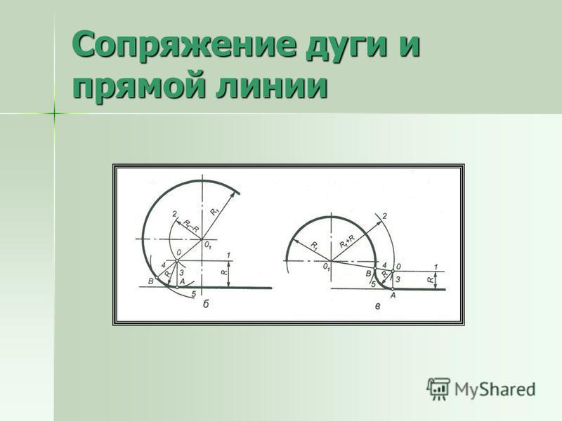 Сопряжение дуги и прямой линии