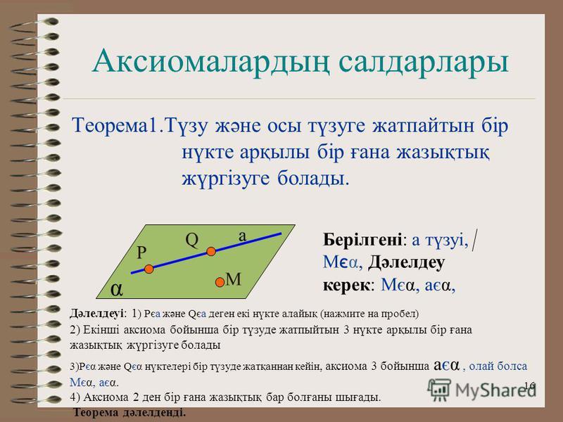 16 Аксиомалардың салдарлары Теорема1.Түзу және осы түзуге жатпайтын бір нүкте арқылы бір ғана жазықтық жүргізуге болады. P а Q M α Берілгені: а түзуі, М є α, Дәлелдеу керек: Мєα, аєα, Дәлелдеуі: 1 ) Рєа және Qєа деген екі нүкте алайық (нажмите на про