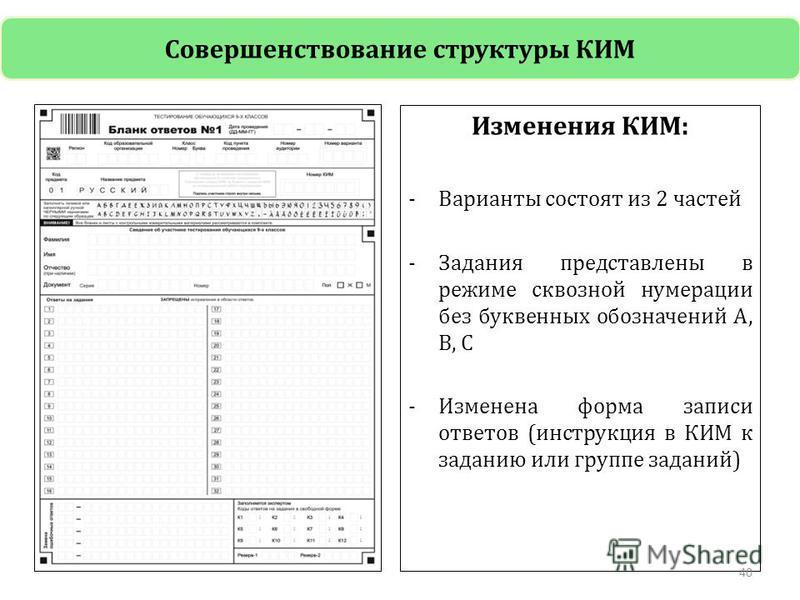 Изменения КИМ: -Варианты состоят из 2 частей -Задания представлены в режиме сквозной нумерации без буквенных обозначений А, В, С -Изменена форма записи ответов (инструкция в КИМ к заданию или группе заданий) 40 Совершенствование структуры КИМ