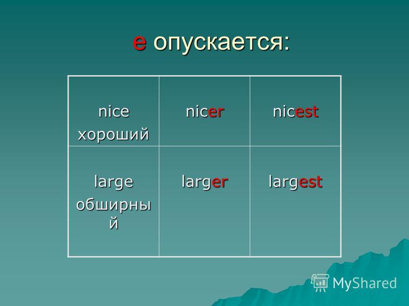 niceхороший nicer nicest large обширный larger largest е опускается: