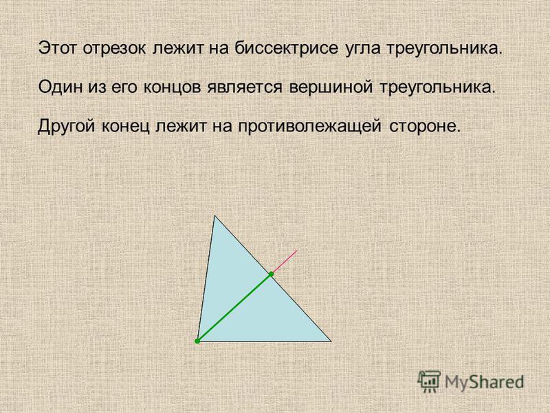 Этот отрезок лежит на биссектрисе угла треугольника. Один из его концов является вершиной треугольника. Другой конец лежит на противолежащей стороне.