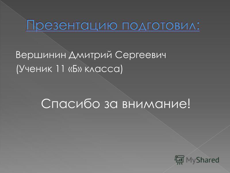 Вершинин Дмитрий Сергеевич (Ученик 11 «Б» класса) Спасибо за внимание!