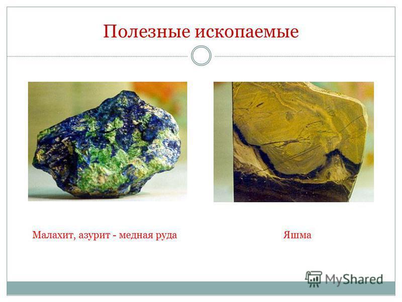 Полезные ископаемые Малахит, азурит - медная руда Яшма