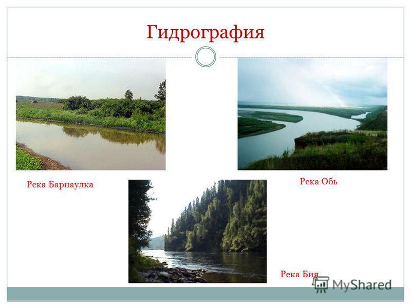 Гидрография Река Барнаулка Река Обь Река Бия