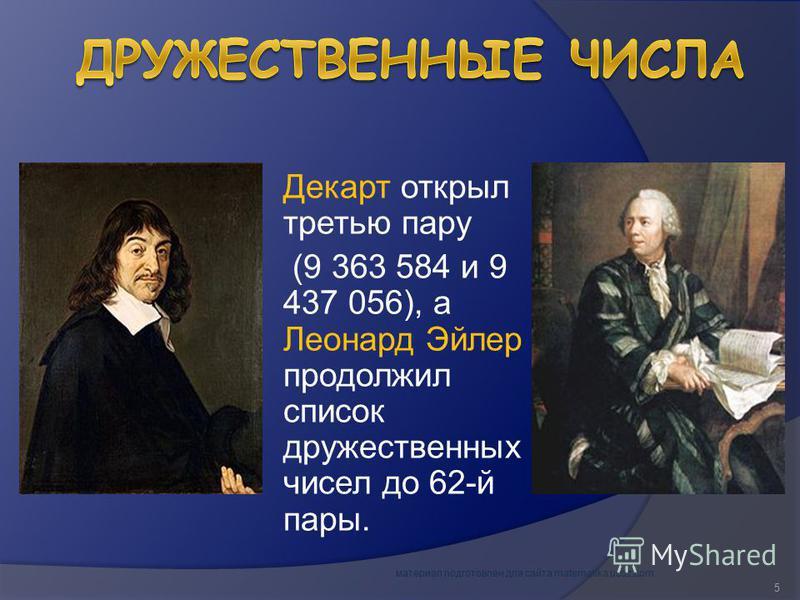 Декарт открыл третью пару (9 363 584 и 9 437 056), а Леонард Эйлер продолжил список дружественных чисел до 62-й пары. материал подготовлен для сайта matematika.ucoz.com 5
