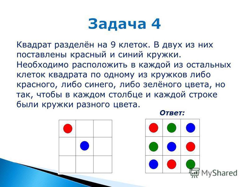 Квадрат разделён на 9 клеток. В двух из них поставлены красный и синий кружки. Необходимо расположить в каждой из остальных клеток квадрата по одному из кружков либо красного, либо синего, либо зелёного цвета, но так, чтобы в каждом столбце и каждой