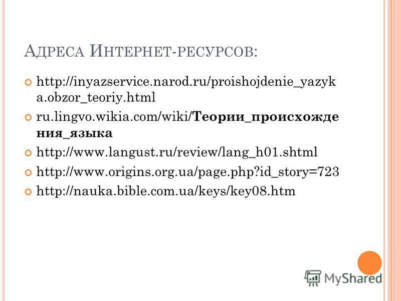 А ДРЕСА И НТЕРНЕТ - РЕСУРСОВ : http://inyazservice.narod.ru/proishojdenie_yazyk a.obzor_teoriy.html ru.lingvo.wikia.com/wiki/ Теории _ происхождения _ языка http://www.langust.ru/review/lang_h01. shtml http://www.origins.org.ua/page.php?id_story=723