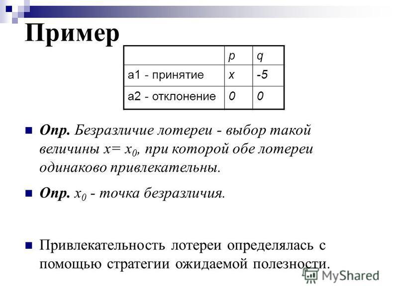 Пример pq а 1 - принятиеx-5 a2 - отклонение 00 Опр. Безразличие лотереи - выбор такой величины х= х 0, при которой обе лотереи одинаково привлекательны. Опр. х 0 - точка безразличия. Привлекательность лотереи определялась с помощью стратегии ожидаемо
