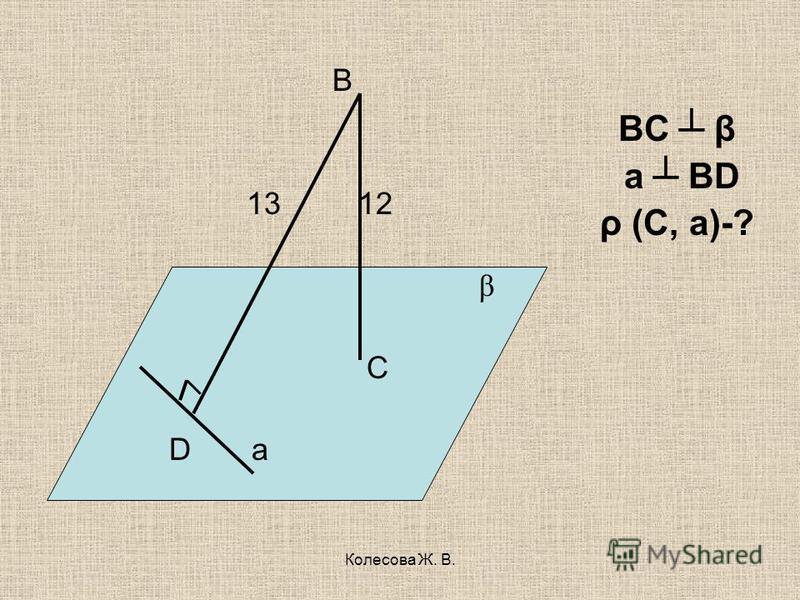 Колесова Ж. В. В 13 12 β C D а ВС β а BD ρ (C, а)-?