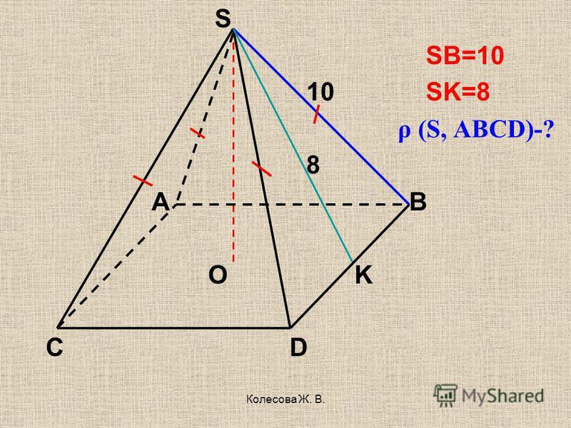Колесова Ж. В. S SB=10 10 SK=8 ρ (S, ABCD)-? 8 A B O K C D