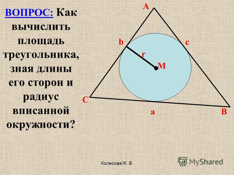 Колесова Ж. В. A b c r M C a B ВОПРОС: Как вычислить площадь треугольника, зная длины его сторон и радиус вписанной окружности?