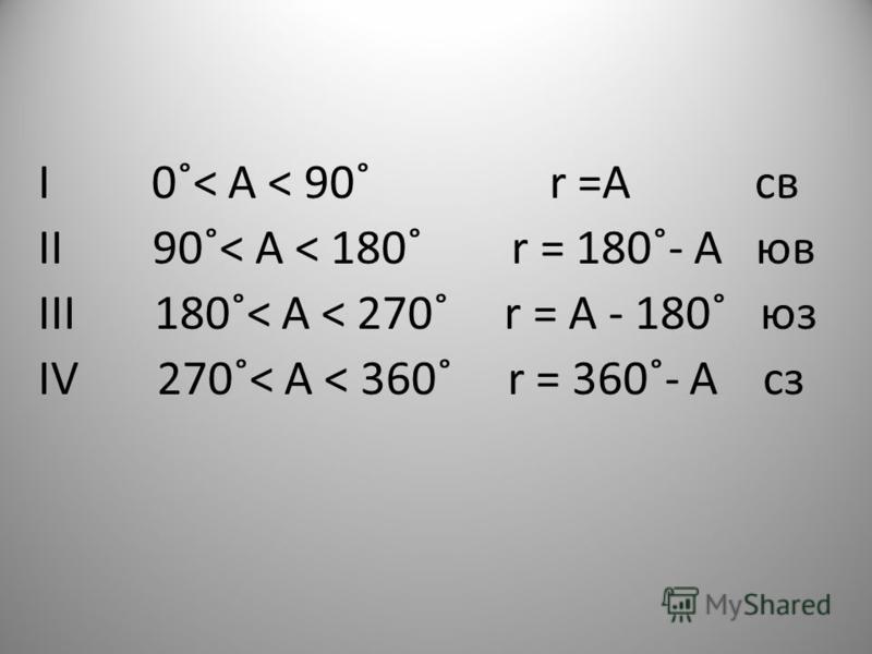 I 0˚˂ А ˂ 90˚ r =А св II 90˚˂ А ˂ 180˚ r = 180˚- А ю в III 180˚˂ А ˂ 270˚ r = А - 180˚ юз IV 270˚˂ А ˂ 360˚ r = 360˚- А сз