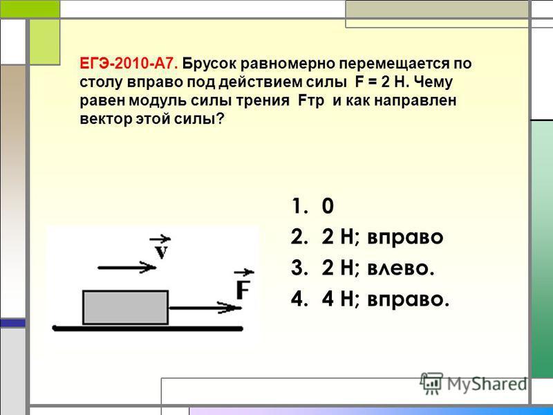 ЕГЭ-2010-А7. Брусок равномерно перемещается по столу вправо под действием силы F = 2 Н. Чему равен модуль силы трения Fтр и как направлен вектор этой силы? 1.0 2.2 Н; вправо 3.2 Н; влево. 4.4 Н; вправо.