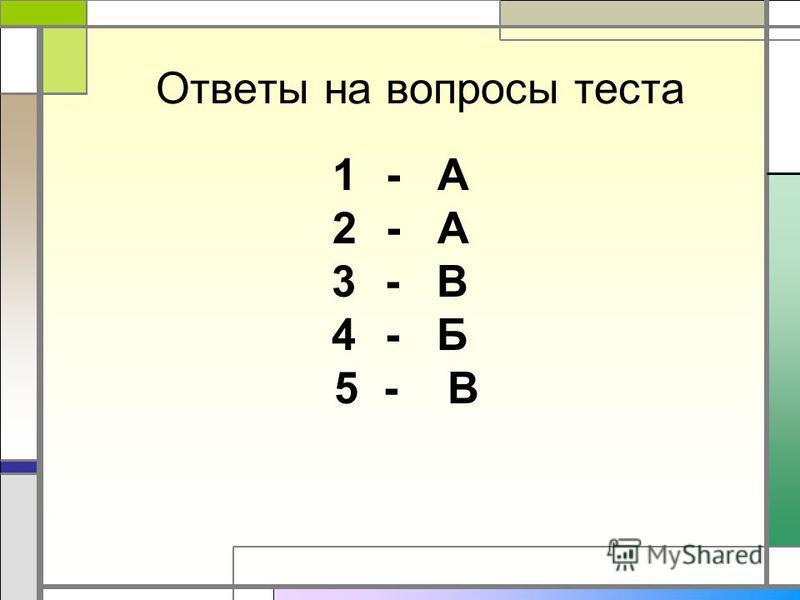 Ответы на вопросы теста 1- А 2- А 3- В 4- Б 5 - В