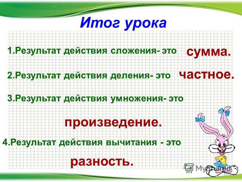 Итог урока 10 1. Результат действия сложения- это сумма. 2. Результат действия деления- это 3. Результат действия умножения- это 4. Результат действия вычитания - это частное. произведение. разность.