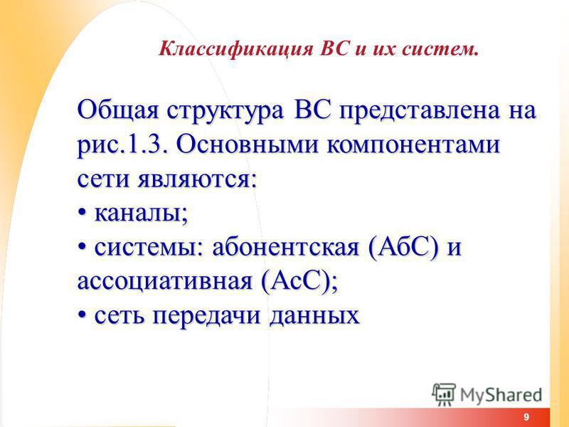 9 Классификация ВС и их систем. Общая структура ВС представлена на рис.1.3. Основными компонентами сети являются: каналы; каналы; системы: абонентская (АбС) и ассоциативная (АсС); системы: абонентская (АбС) и ассоциативная (АсС); сеть передачи данных