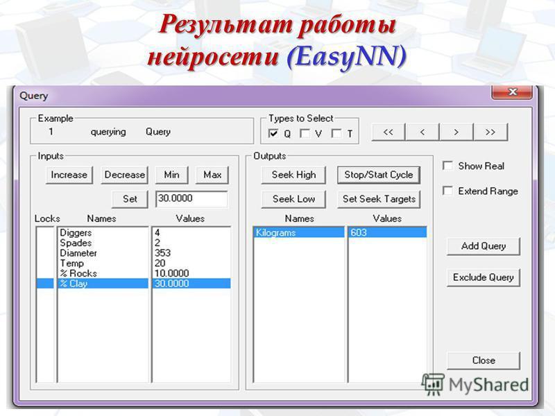 Результат работы нейросети (EasyNN)