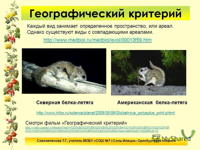 Географический критерий http://www.medbiol.ru/medbiol/evol/00013f59. htm Каждый вид занимает определенное пространство, или ареал. Однако существуют виды с совпадающими ареалами. http://www.infox.ru/science/planet/2009/05/06/Globalnoye_potyeplye_prin