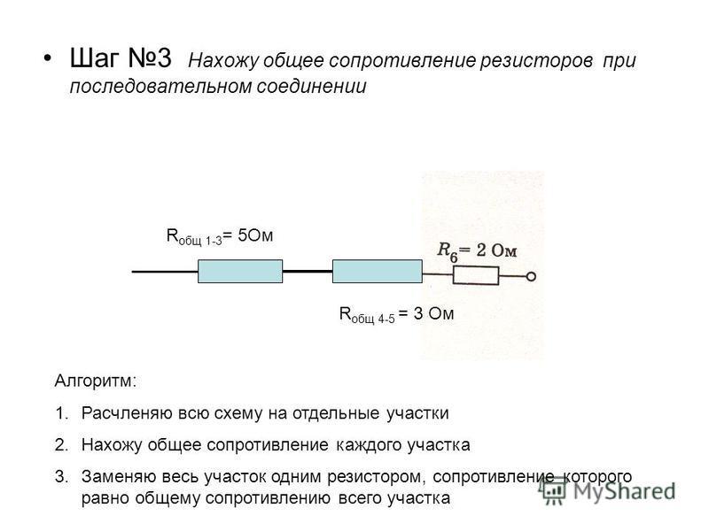 Шаг 3 Нахожу общее сопротивление резисторов при последовательном соединении R общ 1-3 = 5Ом R общ 4-5 = 3 Ом Алгоритм: 1. Расчленяю всю схему на отдельные участки 2. Нахожу общее сопротивление каждого участка 3. Заменяю весь участок одним резистором,
