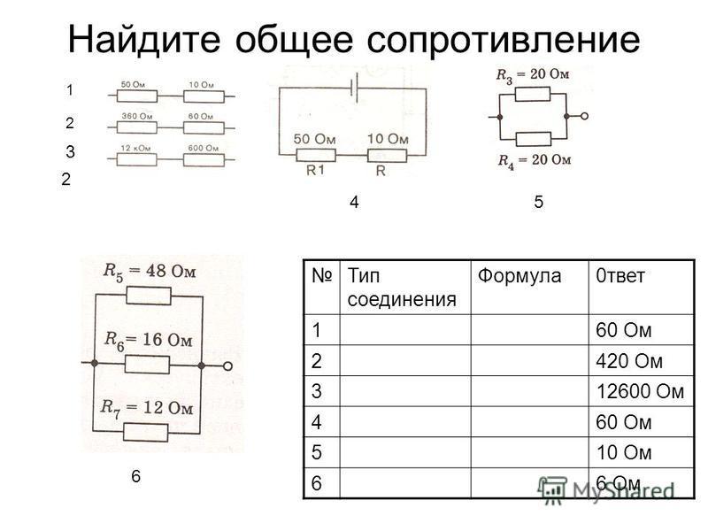 Найдите общее сопротивление 1 2 2 3 Тип соединения Формула 0 ответ 160 Ом 2420 Ом 312600 Ом 460 Ом 510 Ом 66 Ом 45 6