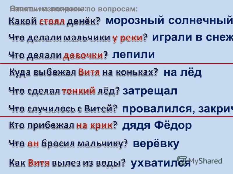 морозный солнечный играли в снежки лепили на лёд затрещал провалился, закричал дядя Фёдор верёвку ухватился Ответь на вопросы: Напиши изложение по вопросам:
