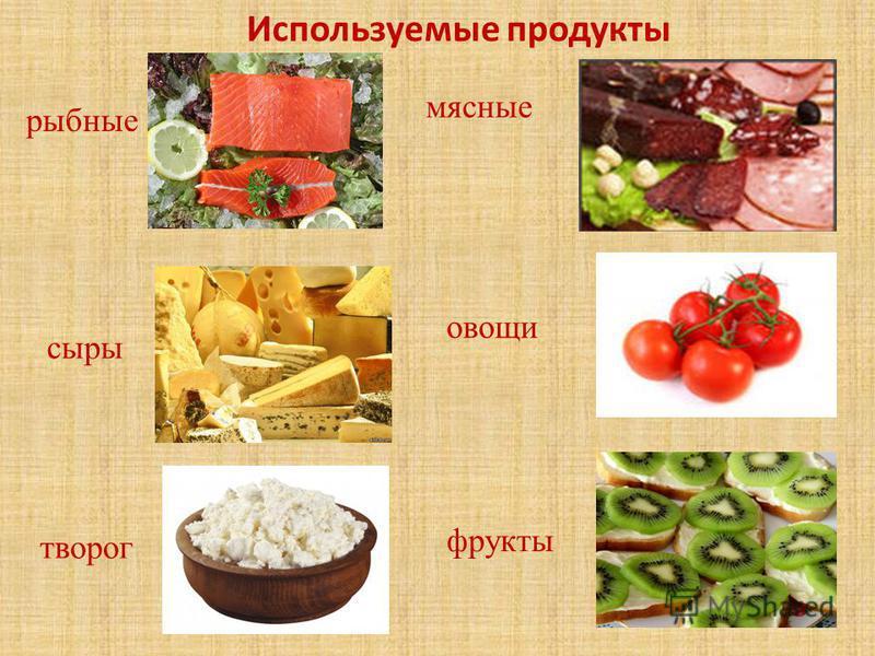 Используемые продукты мясные рыбные сыры овощи творог фрукты