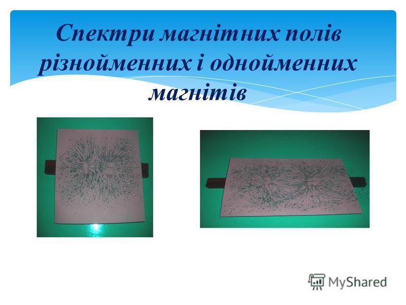 Спектри магнітних полів різнойменних і однойменних магнітів