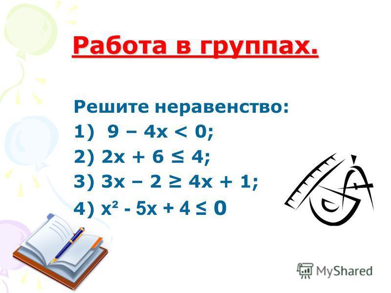 Работа в группах. Решите неравенство: 1) 9 – 4 х < 0; 2) 2 х + 6 4; 3) 3 х – 2 4 х + 1; 4) х² - 5 х + 4 0