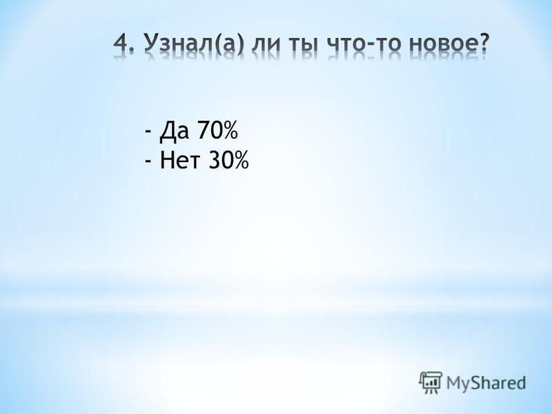 - Да 70% - Нет 30%