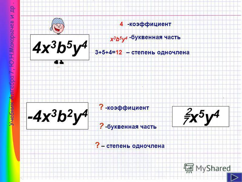 Учебник Алгебра 7, Ю.Н.Макарычев и др. 4 х 3 b 5 y 4 -4x 3 b 2 y 4 х 5 у 4 -коэффициент -буквенная часть – степень одночлена ? -буквенная часть ? -коэффициент ? – степень одночлена 4 х 3b5y4 х 3b5y4 3+5+4=12