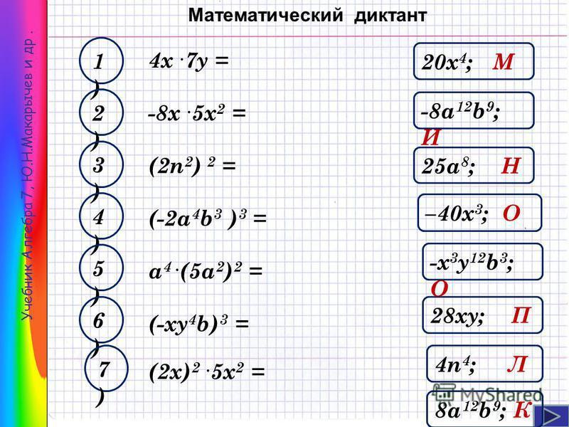 Учебник Алгебра 7, Ю.Н.Макарычев и др. 4 х. 7 у = 28 ку; П 1)1) –40 х 3 ; О 2)2) 4n 4 ; Л 3)3) -8a 12 b 9 ; И 4)4) 25a 8 ; Н 5)5) -х 3 у 12 b 3 ; О 6)6) -8 х. 5 х 2 = (2n 2 ) 2 = (-2 а 4 b 3 ) 3 = a 4. (5a 2 ) 2 = (-ку 4 b) 3 = 20 х 4 ; М 7)7) (2 х)