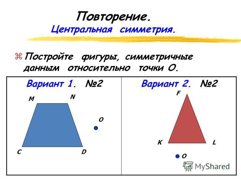 Повторение. Осевая симметрия. zПz Постройте фигуры, симметричные данным относительно оси l. Вариант 1. 1Вариант 2. 1 l F K L l CD N M 8
