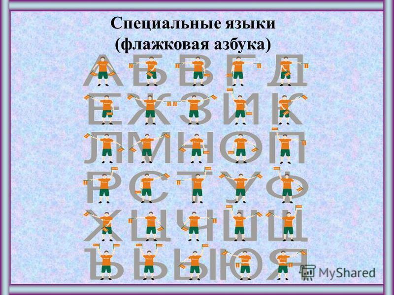 Специальные языки (флажковая азбука)