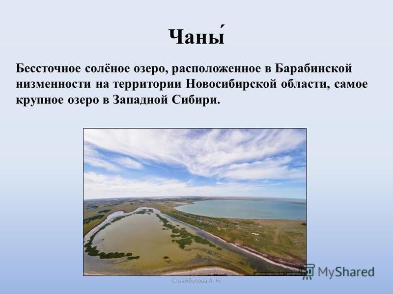 Чаны́ Страйбулова А. Н. Бессточное солёное озеро, расположенное в Барабинской низменности на территории Новосибирской области, самое крупное озеро в Западной Сибири.