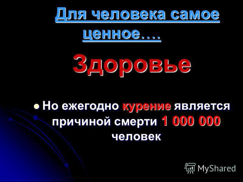 Для человека самое ценное…. Для человека самое ценное…. Здоровье Но ежегодно курение является причиной смерти 1 000 000 человек Но ежегодно курение является причиной смерти 1 000 000 человек