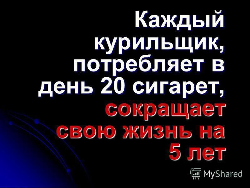 Каждый курильщик, потребляет в день 20 сигарет, сокращает свою жизнь на 5 лет