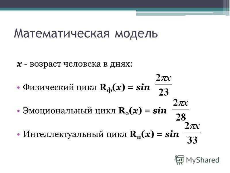 Математическая модель х - возраст человека в днях: Физический цикл R ф (х) = sin Эмоциональный цикл R э (х) = sin Интеллектуальный цикл R и (х) = sin