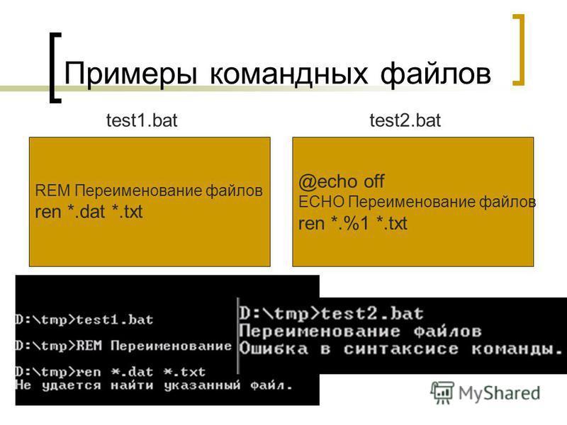 Примеры командных файлов REM Переименование файлов ren *.dat *.txt test1. bat @echo off ECHO Переименование файлов ren *.%1 *.txt test2.bat
