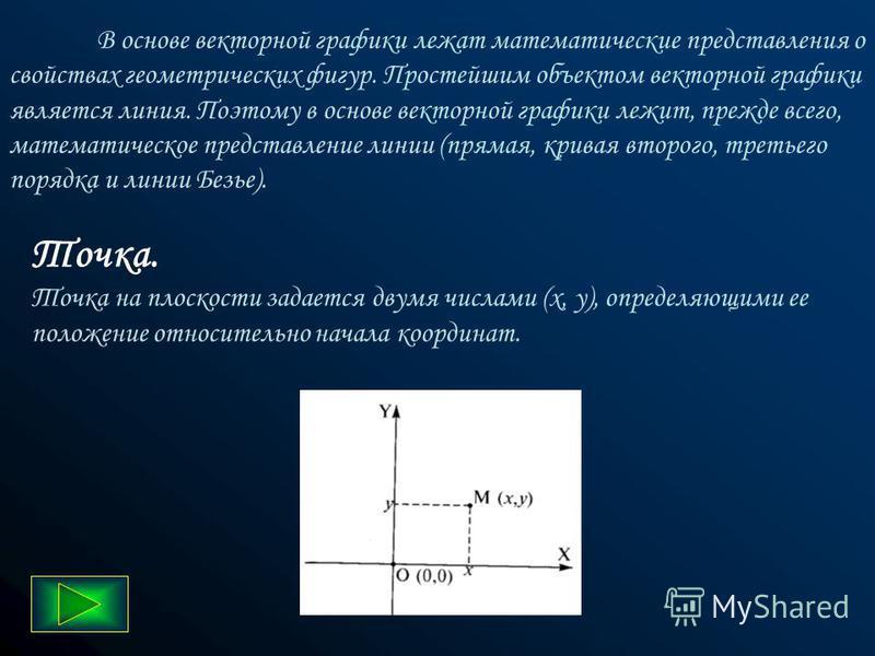 Основным логическим элементом векторной графики является геометрический объект. В качестве объекта принимаются простые геометрические фигуры (так называемые примитивы - прямоугольник, окружность, эллипс, линия), составные фигуры или фигуры, построенн