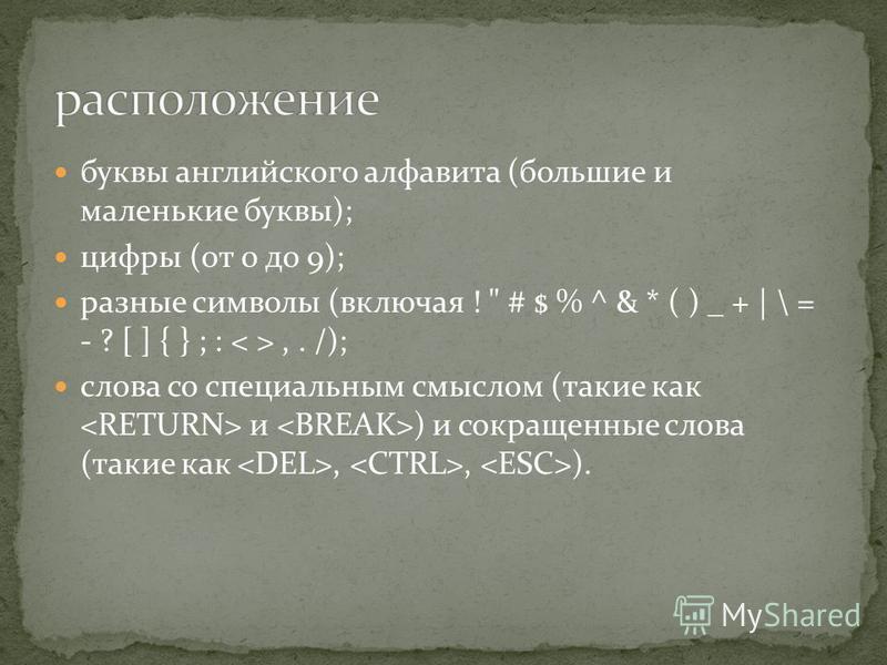 буквы английского алфавита (большие и маленькие буквы); цифры (от 0 до 9); разные символы (включая !  # $ % ^ & * ( ) _ + | \ = - ? [ ] { } ; :,. /); слова со специальным смыслом (такие как и ) и сокращенные слова (такие как,, ).