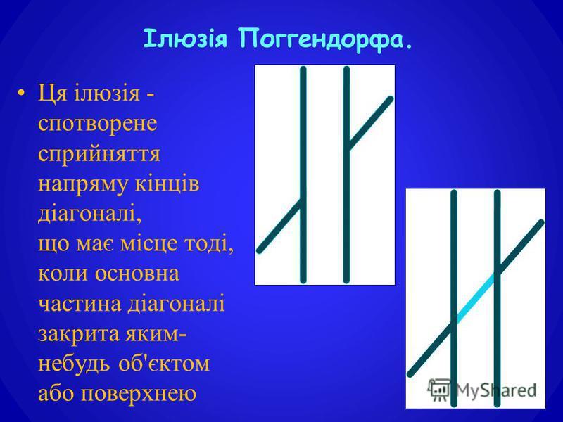 Ця ілюзія - спотворене сприйняття напряму кінців діагоналі, що має місце тоді, коли основна частина діагоналі закрита яким- небудь об'єктом або поверхнею. Ілюзія Поггендорфа.