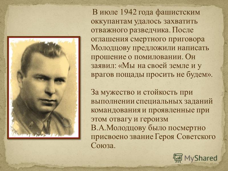 В июле 1942 года фашистским оккупантам удалось захватить отважного разведчика. После оглашения смертного приговора Молодцову предложили написать прошение о помиловании. Он заявил: «Мы на своей земле и у врагов пощады просить не будем». За мужество и