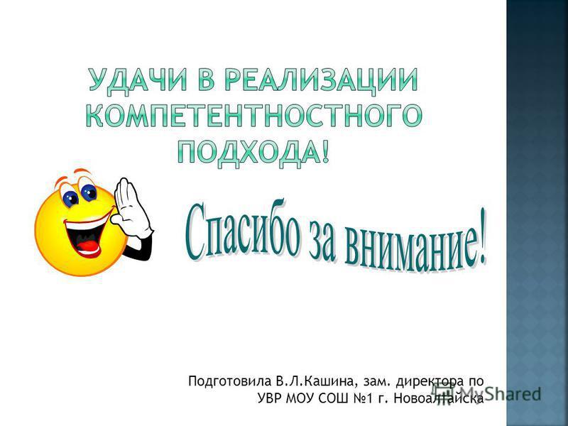 Подготовила В.Л.Кашина, зам. директора по УВР МОУ СОШ 1 г. Новоалтайска