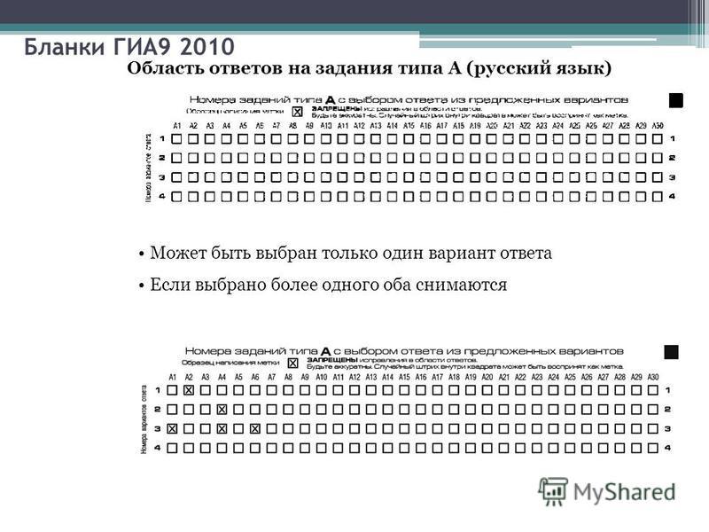 Бланки ГИА9 2010 Область ответов на задания типа А (русский язык) Может быть выбран только один вариант ответа Если выбрано более одного оба снимаются