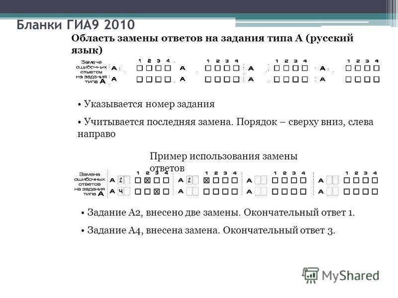 Бланки ГИА9 2010 Область замены ответов на задания типа А (русский язык) Указывается номер задания Учитывается последняя замена. Порядок – сверху вниз, слева направо Пример использования замены ответов Задание А2, внесено две замены. Окончательный от